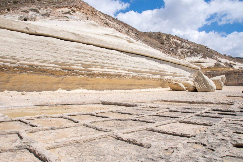 Rotsen van zout tijdens ons avontuur op Malta