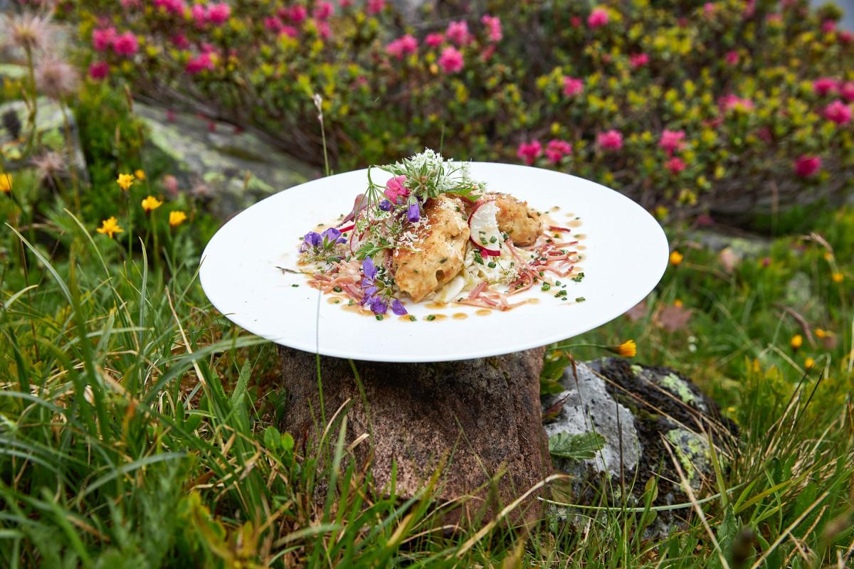 Culinaire gerechten in de bergen met lokale producten