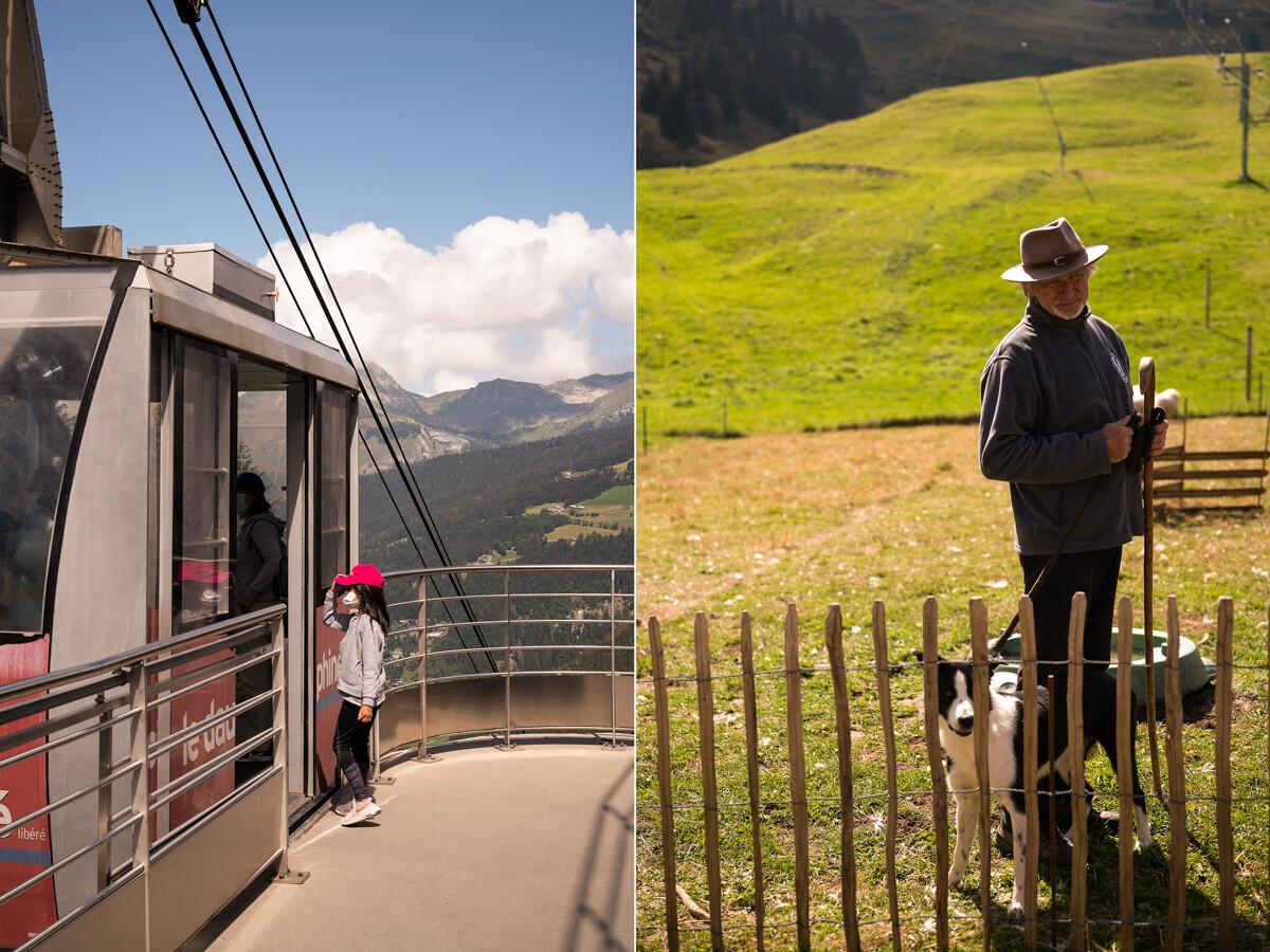 Herder met hond en cable car