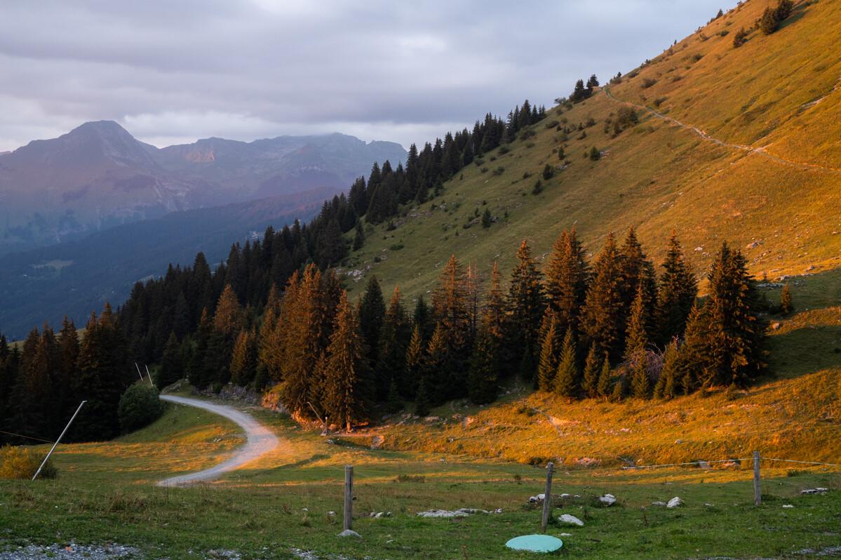 Zonsondergang bergen